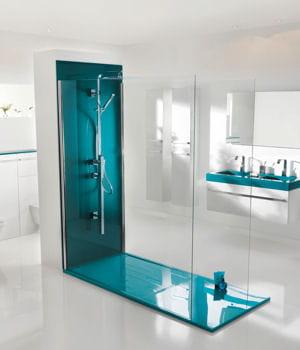 Pour voir la vie en bleu d s le matin notre s lection de douches l 39 it - Douche italienne bleue ...