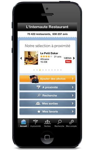 le guide des restaurants sur iphone.