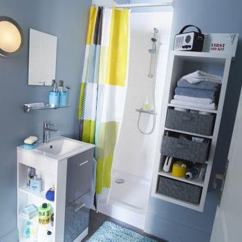 Meubles vaneta et rangement mixxit am nager son studio avec castorama linternaute - Meuble salle de bain range serviette ...