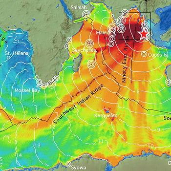 sur cette carte, on observe la propagation du tsunami parti d'asie, étoile
