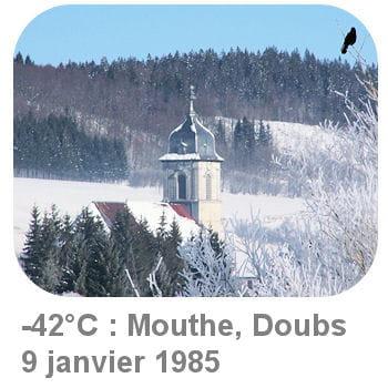 le record de froid est détenu par le village de mouthe, dans le doubs.