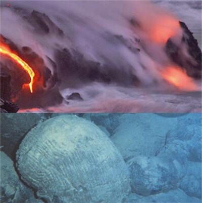 les pillow-lavas consistent en un refroidissement rapide de la lave après