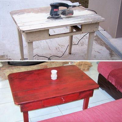 une table basse rouge les r novations de meubles les. Black Bedroom Furniture Sets. Home Design Ideas