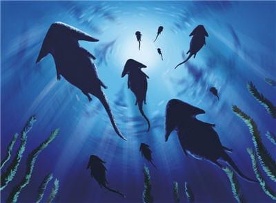 groupe de diplocaulus évoluant en eau douce. ils sont reconnaissables à leur