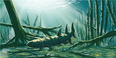 reconstitution d'eusthenoptéron évoluant dans un environnement côtier.