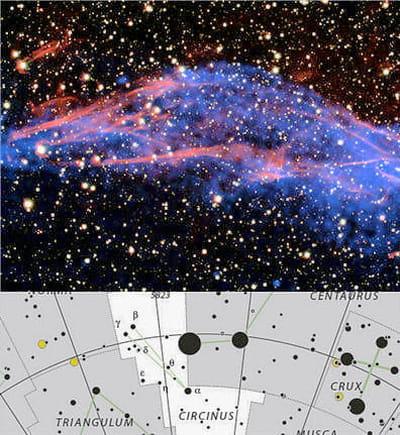 au-dessus : image des restes dela supernova rcw 86 de la constellation du