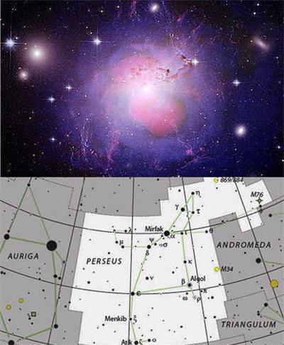 au-dessus : photo de la galaxie ngc 1275 (perséus a). en-dessous : dessin de la
