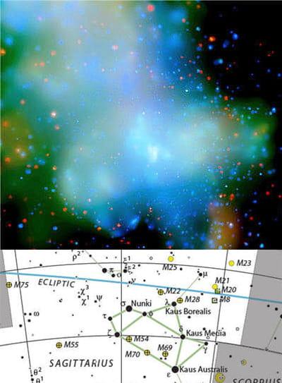 au-dessus : image de la galaxie sagittarius a. en-dessous : dessin de la