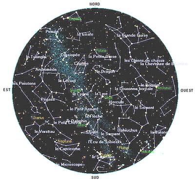 hémisphère céleste du 8 au 10 août 2008.