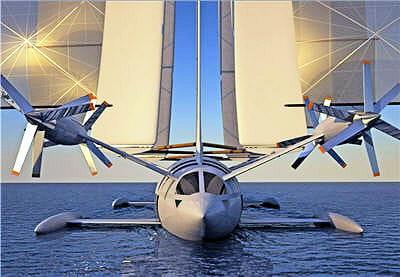 qautre moteurs à double hélices propulsent l'hydravion au décollage et en plein