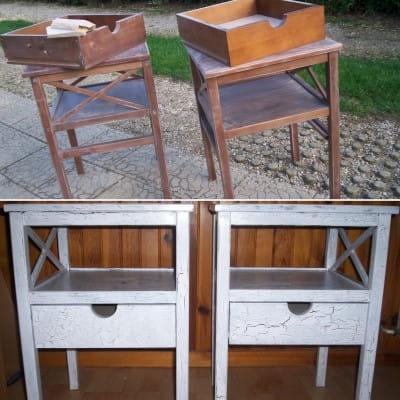 Deux tables de chevet les r novations de meubles les for Table de chevet pour mezzanine