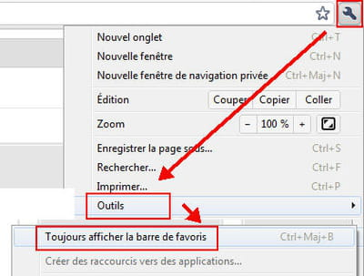 l'option barre de favoris de chrome 11.