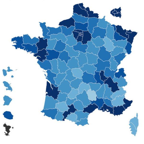 Carte des résultats de la présidentielle par département