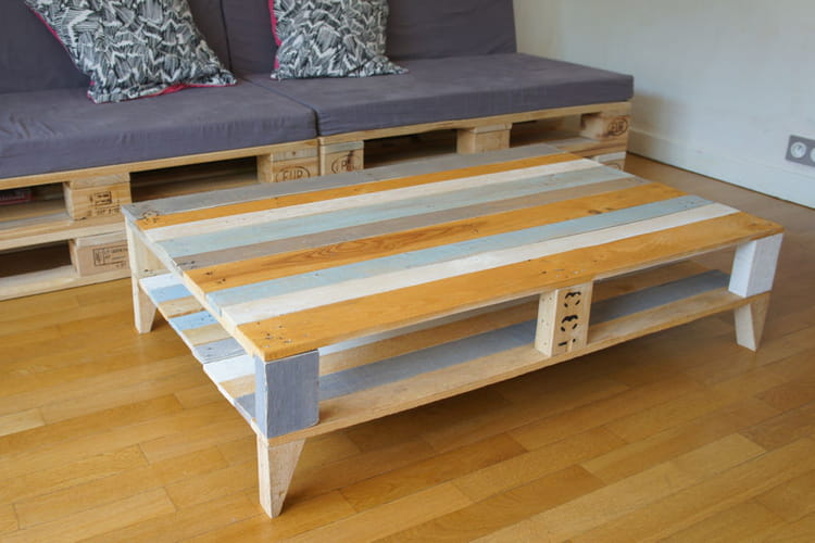 Une table basse en palette for Fabriquer table basse en palette