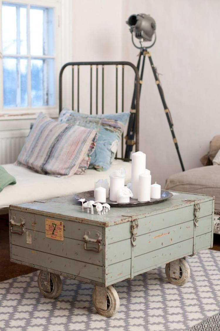 table basse avec une jante. Black Bedroom Furniture Sets. Home Design Ideas