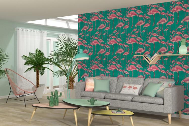 les flamants roses s 39 invitent sur les tapisseries. Black Bedroom Furniture Sets. Home Design Ideas