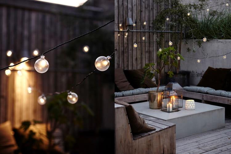 des guirlandes lumineuses pour illuminer son salon d 39 t balcons et terrasses des id es d co. Black Bedroom Furniture Sets. Home Design Ideas