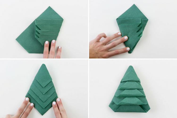 Pliage de serviette sapin de no l tapes 5 8 - Pliage sapin de noel en papier ...