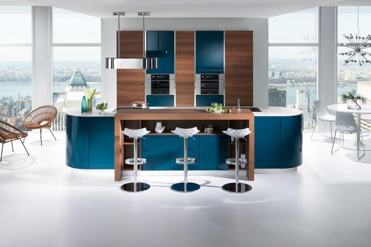 Îlot de cuisine Gaia bleue de Mobalpa  Les îlots font