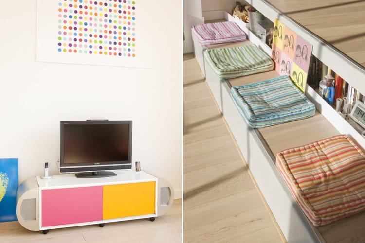 Des touches de couleurs dans le salon - Charmant appartement lumineux touches couleurs ...