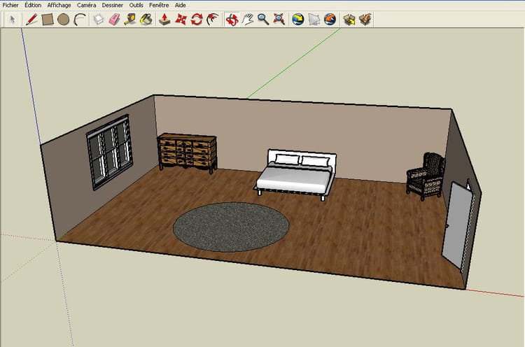 r aliser un plan en 3d avec google sketchup. Black Bedroom Furniture Sets. Home Design Ideas