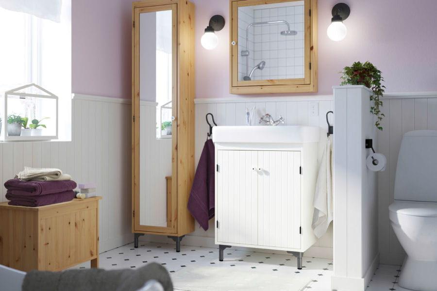 Une salle de bains r tro Miroir xxl ikea