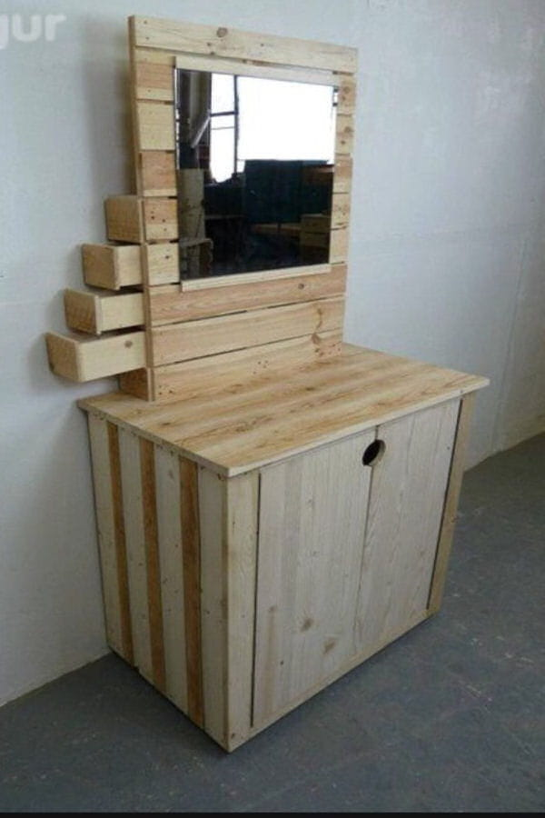 Un meuble pour l 39 entr e meubles en palette 20 id es for Meuble salle de bain en bois de palette