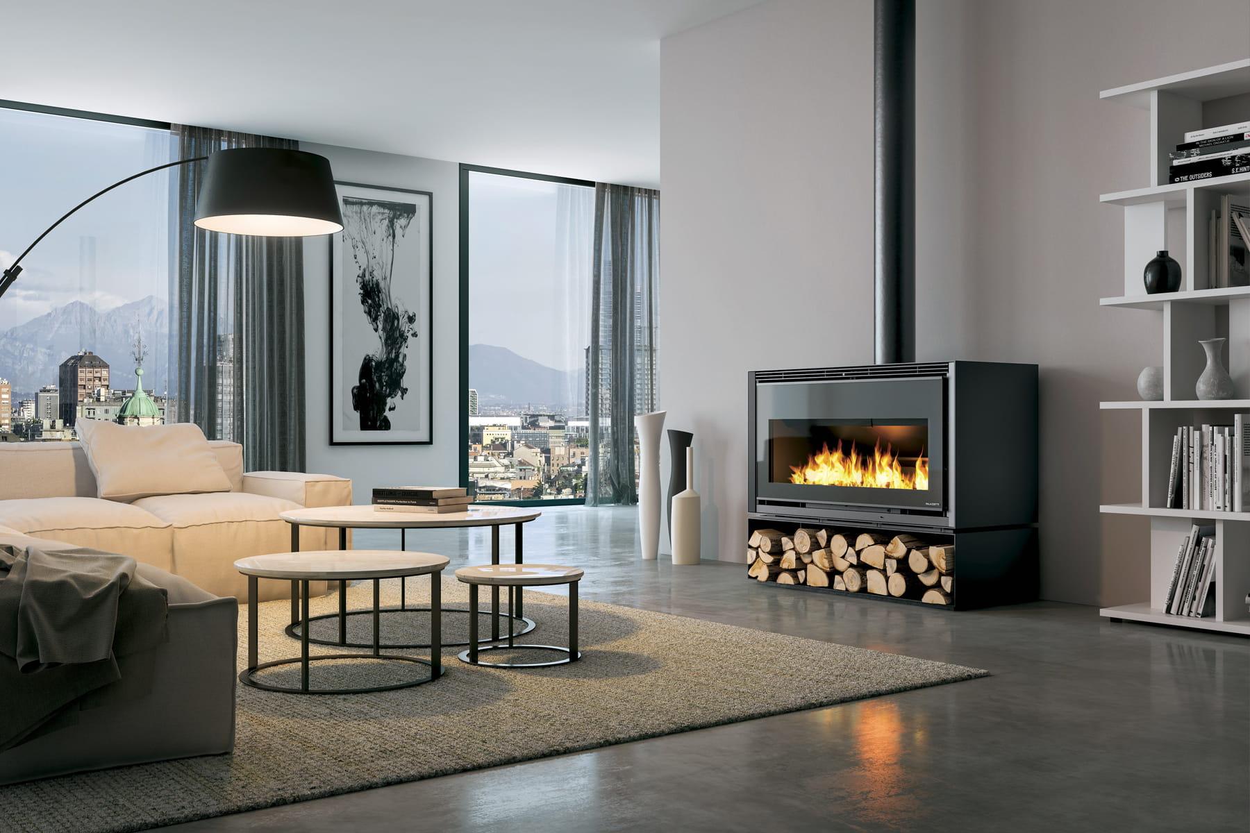 Une vision panoramique du feu for Poele a bois horizontal