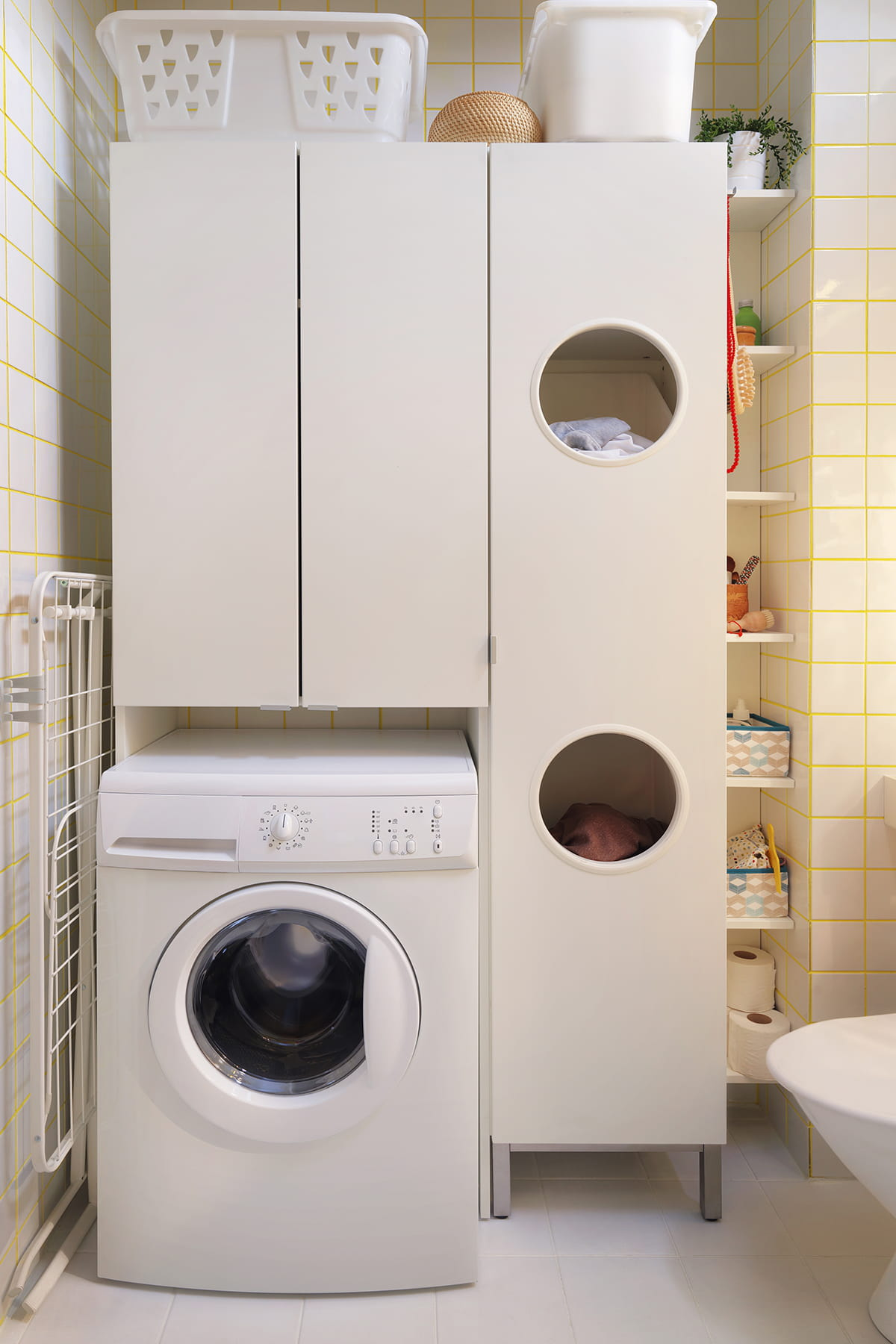 Meuble pour lave linge encastrable ikea maison design for Meuble linge