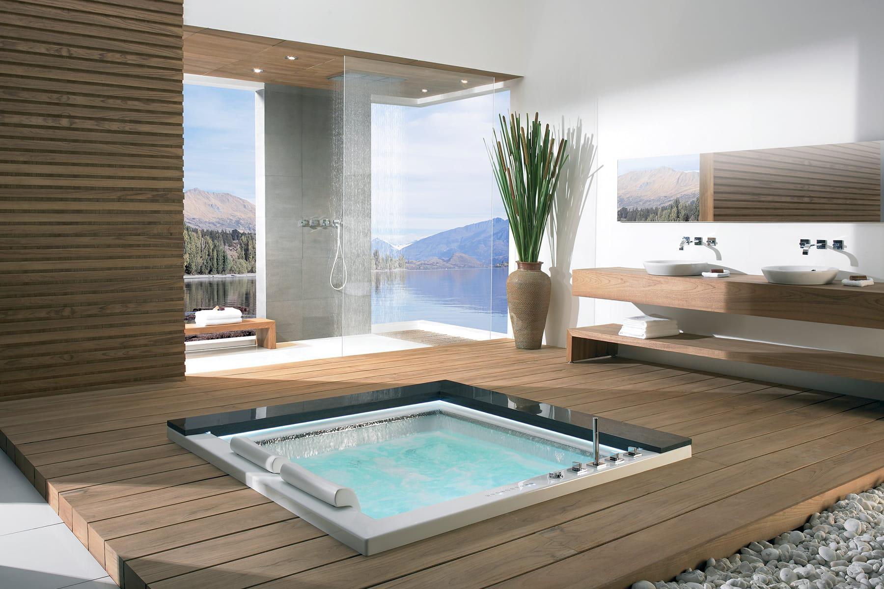 une baignoire aux allures de jacuzzi des salles de bains. Black Bedroom Furniture Sets. Home Design Ideas