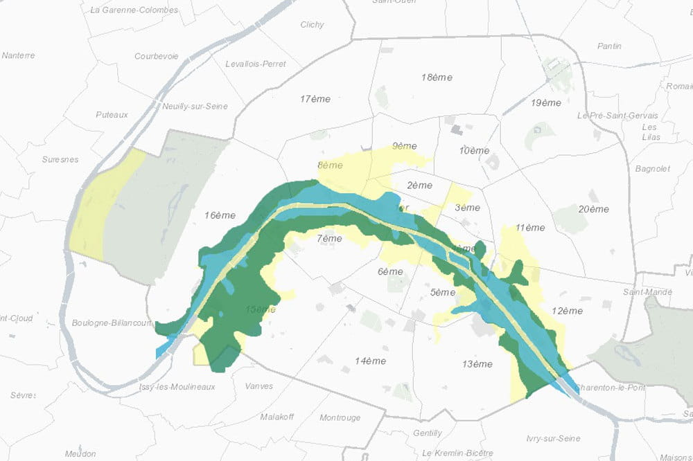 inondations paris o en est le niveau de la seine la carte des caves et sous sols. Black Bedroom Furniture Sets. Home Design Ideas