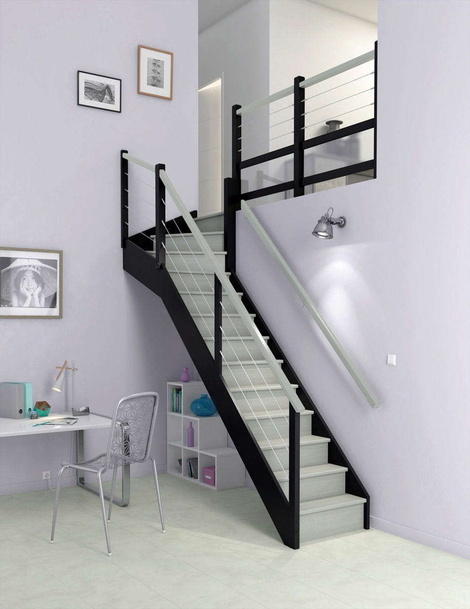 un escalier bicolore comment redonner un coup de jeune son escalier linternaute. Black Bedroom Furniture Sets. Home Design Ideas