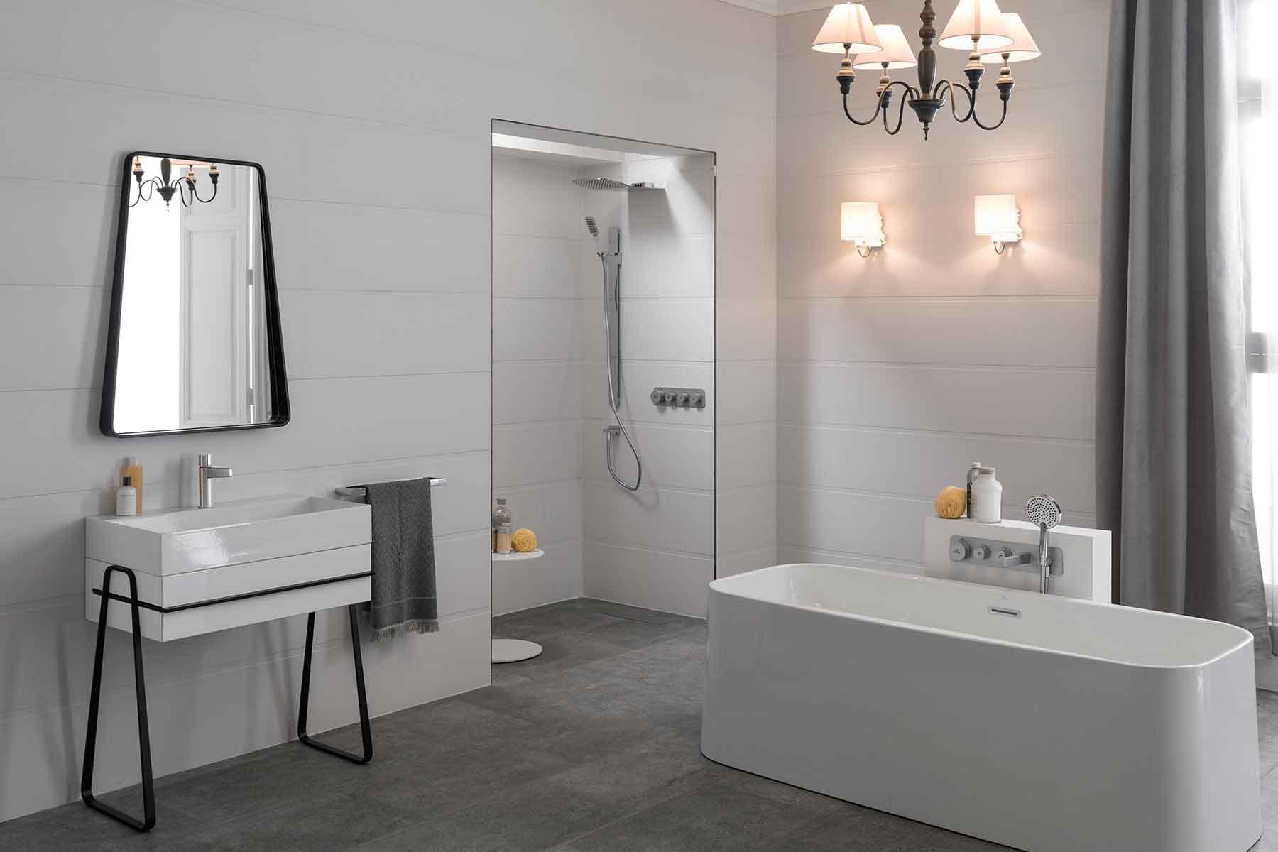 Une douche l 39 italienne encastr e dans le mur for Modele de salle de bain avec douche a l italienne