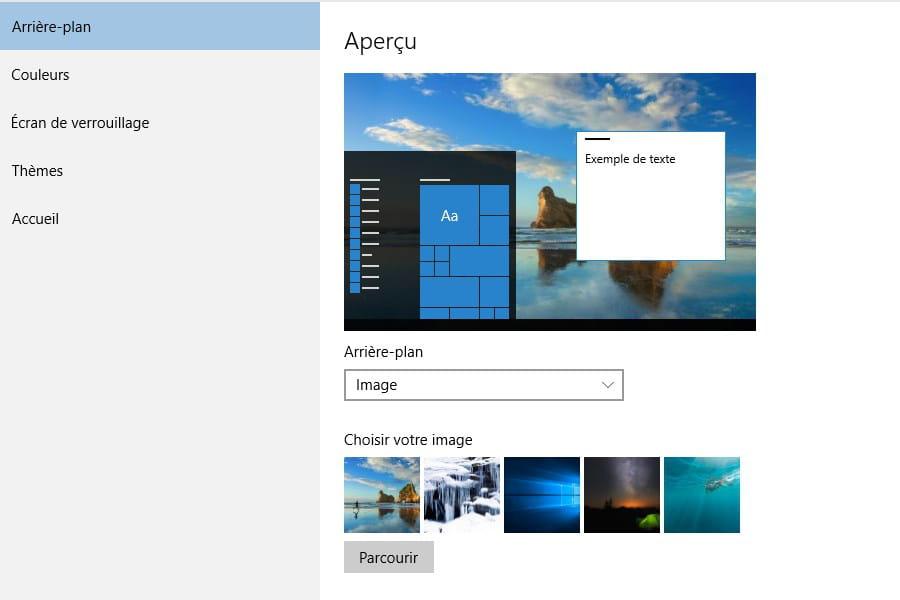Modifiez le papier peint du bureau windows 10 tous les for Bureau windows 10