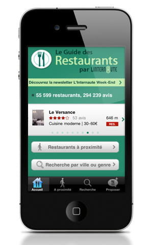 le guide des restaurants sur iphone.