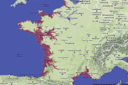 """Résultat de recherche d'images pour """"images hausse niveau mer en france"""""""