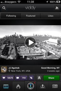 Capture d'écran de l'application Vidy