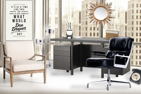 am nager un bureau vintage la mad men. Black Bedroom Furniture Sets. Home Design Ideas