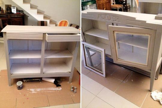 Pose d 39 une premi re couche de peinture avant apr s - Sous couche peinture meuble ...