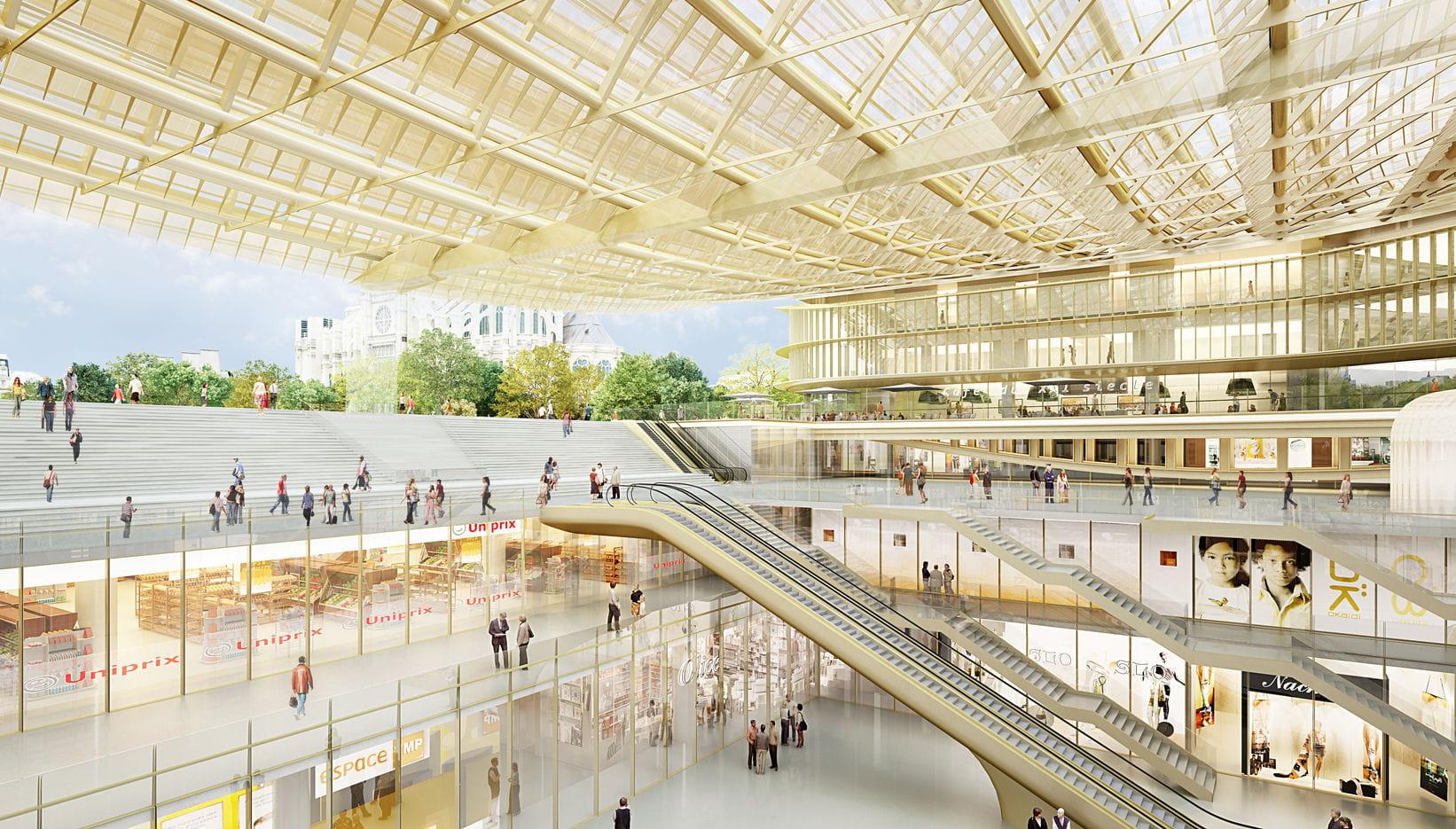 6 300 m2 de boutiques un toit de verre pour le forum des. Black Bedroom Furniture Sets. Home Design Ideas