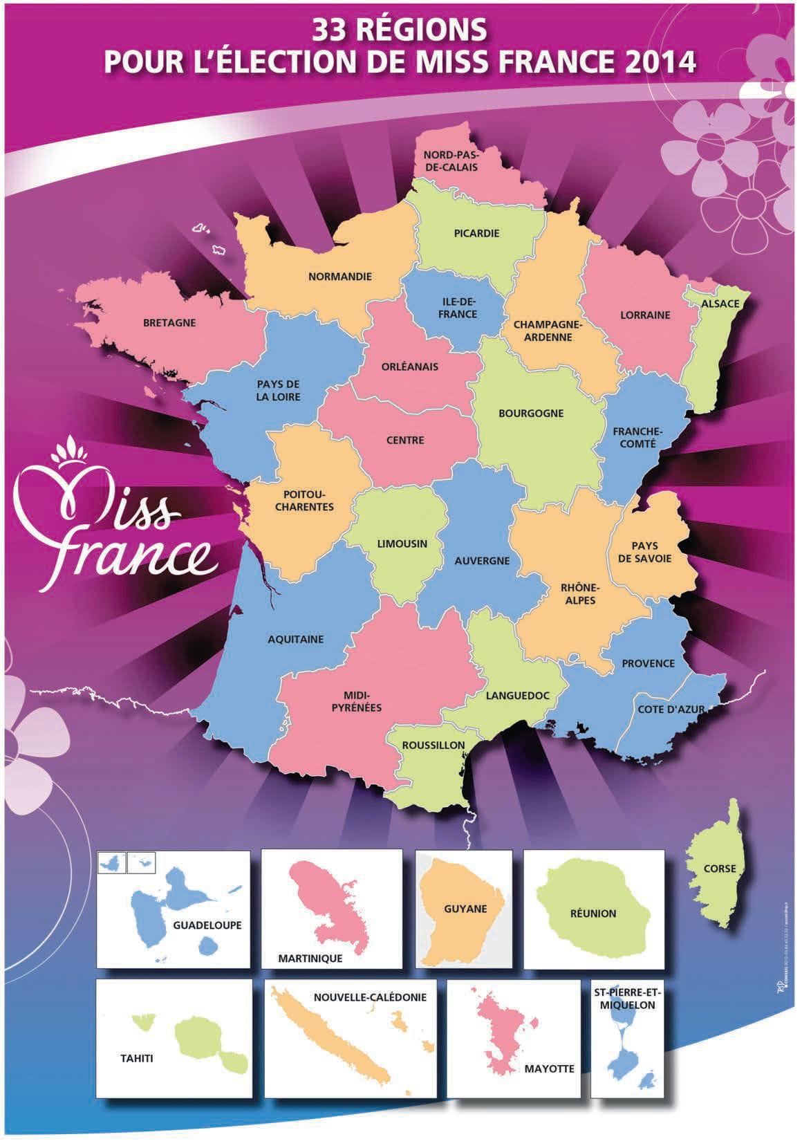 La Carte Des Régions De Miss France : Les 33 Candidates à