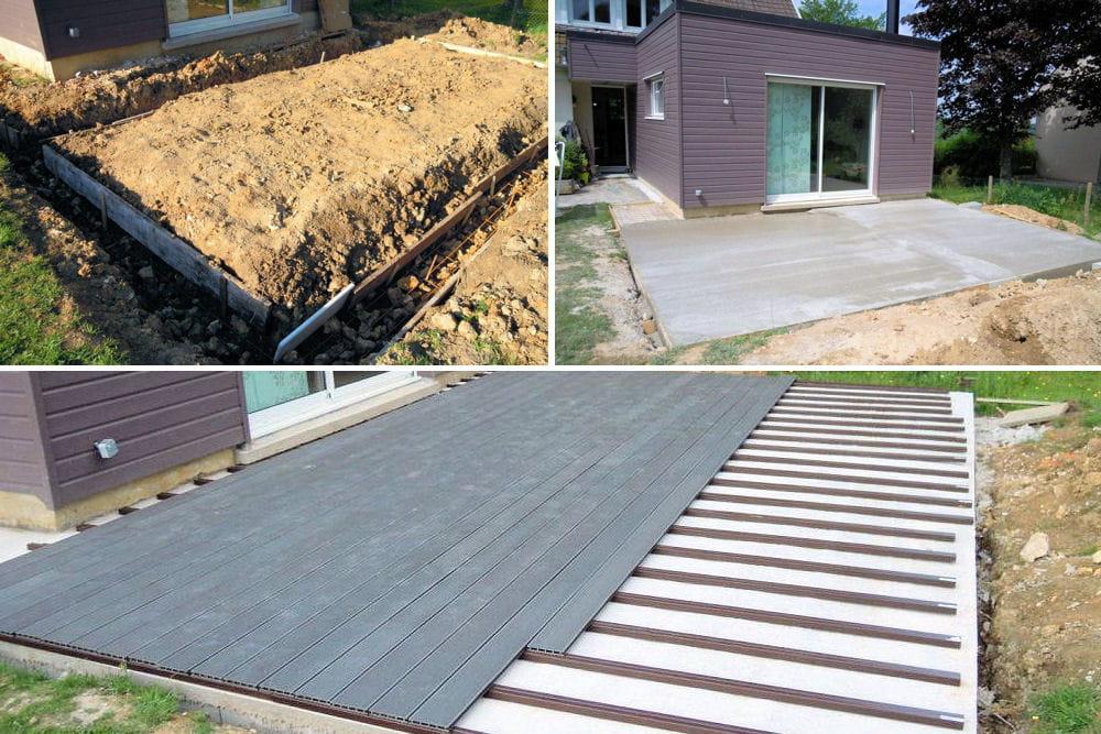 la construction de la terrasse d couvrez la construction d 39 une extension en bois linternaute. Black Bedroom Furniture Sets. Home Design Ideas