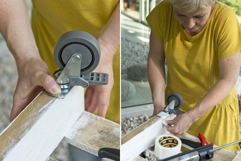 Fixation des roulettes d couvrez comment transformer une - Comment transformer une palette en table basse ...