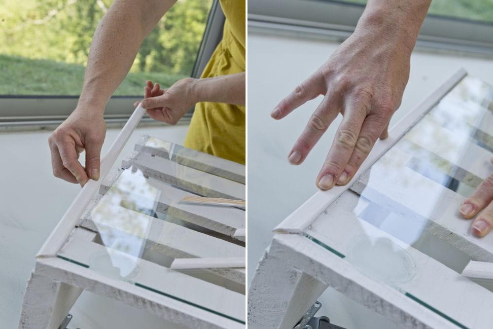Fixation de baguettes d 39 angle sur le pourtour de la table d couvrez com - Comment transformer une palette en table basse ...