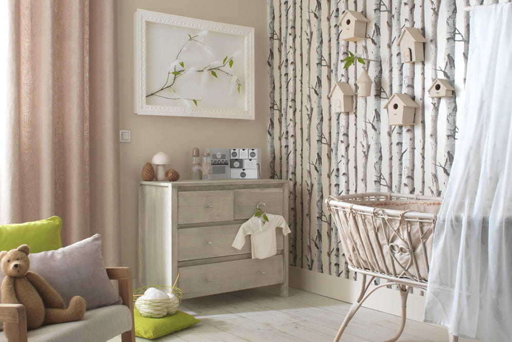 Id e papier peint chambre b b mixte 20170721052607 - Idee chambre bebe mixte ...