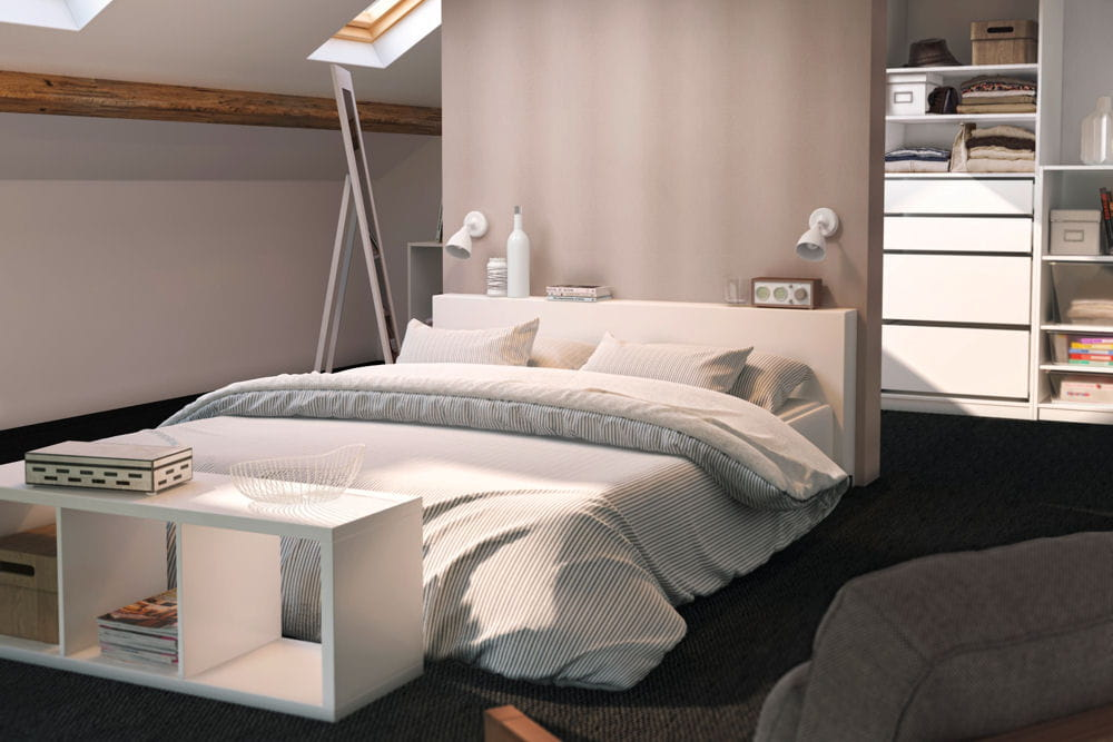 une suite parentale am nag e dans les combles. Black Bedroom Furniture Sets. Home Design Ideas