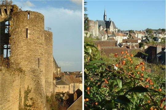 a gauche, la forteresse, construite en 1055 par foulques iii, comte d'anjou.