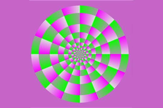 les cercles verts tournent dans le sens inverse des aiguilles d'une montre. il