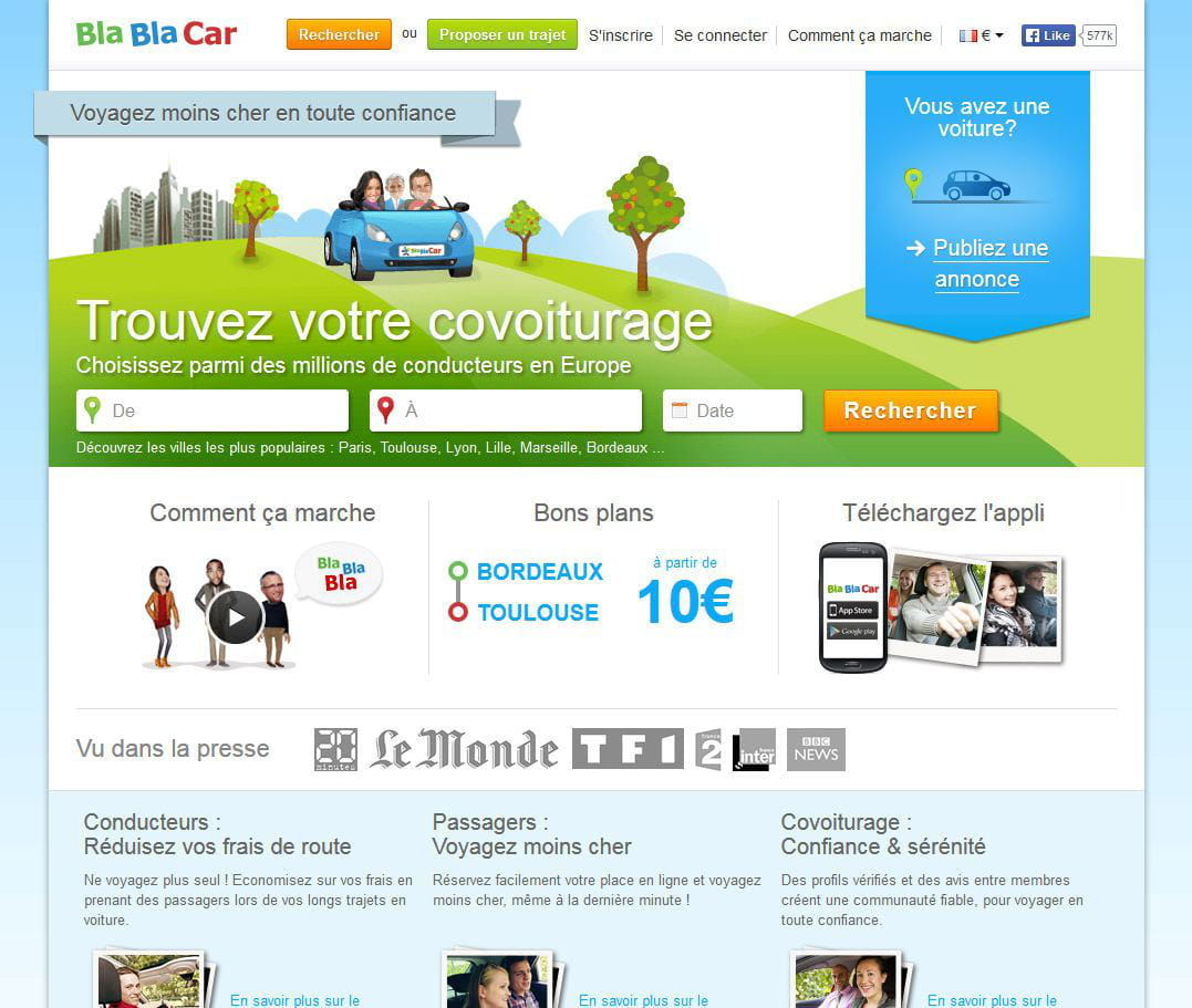 blablacar meilleur site de vente et de services entre particuliers quels sont les sites. Black Bedroom Furniture Sets. Home Design Ideas
