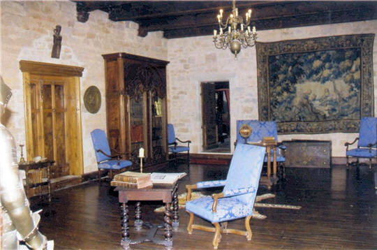 au deuxième étage, la bibliothèque est décorée d'un plafond à la française et de